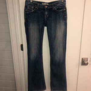 BKE Stella stretch bootcut jeans 30x351/2 VGUC flap pockets